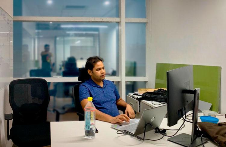 Pushpender Raghav in QOS Energy Indian office